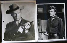 "2 VINTAGE 8""X10"" PHOTO JOHN ERICSON STUDIO PORTRAIT WESTERN COWBOY GUN PISTOL"