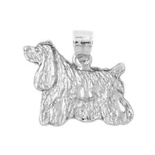 New Polished Rhodium Plated 925 Sterling Silver American Cocker Spaniel Charm