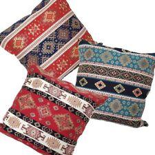 Anatolian Kilim Square/Lumbar Red/Cream/Blue/Turquoise Pillow Case/Cushion Cover