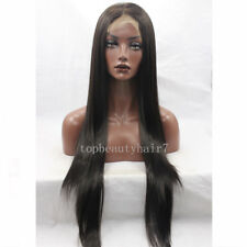 Darkest Brown Color Lace Front Wig Synthetic Hair Long Silky Straight Wigs