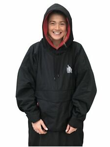 Waterproof Changing Dry Robe Poncho Long Sleeve Black (all sizes)