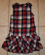 EUC Gymboree Girls Size 6 Winter Penguin Plaid Ruffle Bottom Bow Dress