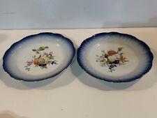 Vintage Mottahedeh Pair of Porcelain Plates with Floral & Blue Trim