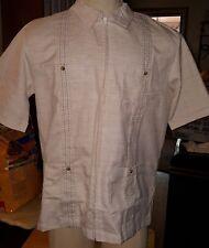John Blair mens short sleeve shirt embroidered tan size medium front zipper