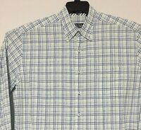PALM BEACH COLLECTION Mens Sz L Long Sleeve Shirt  Blue Plaid 100% Cotton