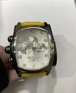 New Invicta Men's 0067 Lupah Silver Textured Dial Yellow Strap Watch
