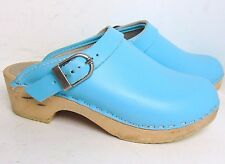 HANNA ANDERSSON 33/1.5 GIRLS BLUE WOODEN STRAP SWEDISH CLOGS $58