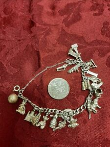 Sterling Silver Vintage Charm Bracelet with Charms