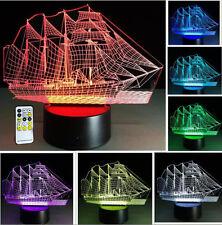 Sailboat illusion 3D LED Night Light 7 Color Remote Control Desk Table Lamp
