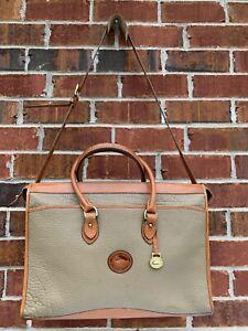 Vintage Dooney & Bourke Extra Large Satchel Purse Tan Leather Tote Handbag