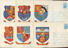 Romania 1976, 6 Arms Unused Stationery Pre-Paid Envelopes Covers #C21408