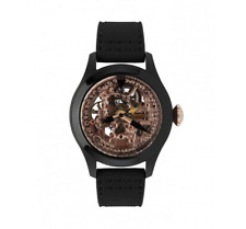 Toy Watch Skeleton Rubber Strap Watch Black Rose Gold Women 5119
