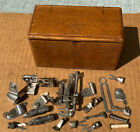 Vintage Oak Singer Puzzle Box 1889 With Attachments Sewing Machine Parts