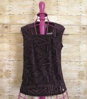 Anne Klein Womens Size Small Purple Tank Top Blouse Texture Velvet Geo Print NWT