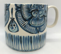 "Large Vintage Stoneware Pottery Blue Floral Tea Coffee Mug 4"" 2 Cup"
