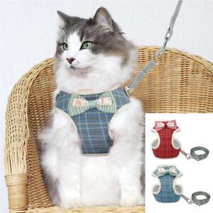 Cat Jacket Harness & Leads Escape Proof Adjustable Pet Puppy Dog Mesh Vest S M L
