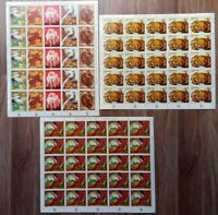 PARAGUAY 1972, WILDLIFE, 3 COMPLETE SHEETS OF 25, MNH, FREE REGISTERED SHIPPING