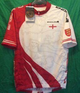 ENGLAND - ENDURA - short sleeve cycling printed MEN'S WHITE JERSEY - L  BNWT