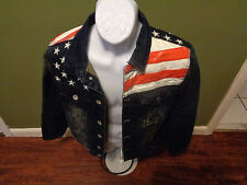 Vest Denim Motorcycle Jeans Jacket  American Flag SIZE SMALL