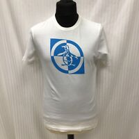 Penguin Size M Medium Mens White T shirt With Large Blue Logo Print Mens