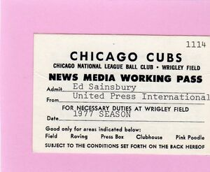 1977 Cubs Opening Day Pass Ticket Tom Seaver Win/311 Life/7 IP/ New York Mets NM