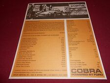 1963 1964 FORD POWERED SHELBY AC COBRA PRICE & SPEC SHEET / BROCHURE / CATALOG