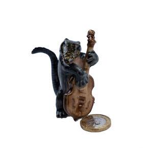 Miniature Ceramic Crocodile Double Bass Player Ornament
