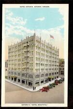 c1930 automobiles in front of Hotel Astoria Oregon advertising postcard