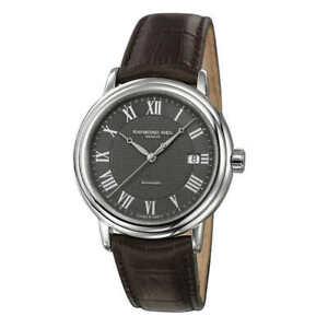 Raymond Weil Men's Watch Maestro Automatic Grey Dial Brown Strap 2837-STC-00609
