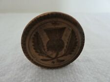 More details for kitchenalia antique scottish thistle carved wood small butter stamp mould print
