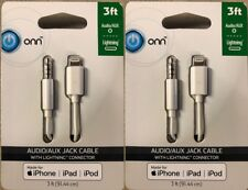 2 Pack - 8 Pin to 3.5mm Male AUX Audio Music Car Cord Cable for iPhone iPad iPod