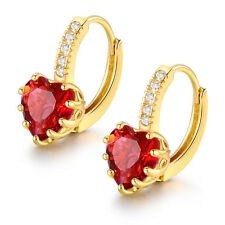 Heart Ruby Red Crystal Sapphire Yellow Gold Filled Women Lady Hoop Earrings BOX
