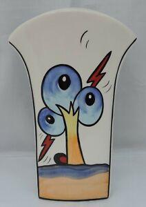 Lorna Bailey round top Bursley Way vase signed to base - 21cm tall
