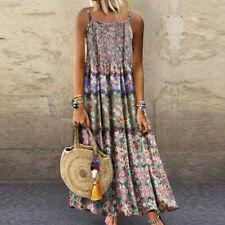 Women Vintage Bohemian Print Floral Sleeveless O-Neck Straps Linen Maxi Dress NA
