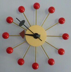 Mid-century Modern Furniture Wall Clock Vintage Retro Red Style Kitchen Clock