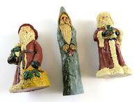 Lot of 3 Vintage Cast Resin Santa Claus Figurines