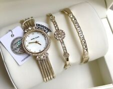 Anne Klein Watch Set * 3202GBST Swarovski Gold Chain Bracelet for Women