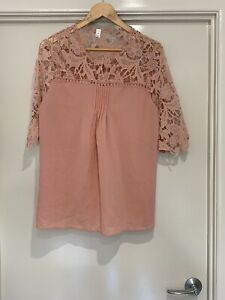 PLUS SIZE Pink Top with Lace Detail fit approx size 16 / 18