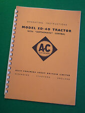 ALLIS CHALMERS ED40 TRACTOR OPERATING INSTRUCTIONS GUIDE DEPTHOMATIC CONTROL 40