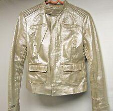 Bebe Genuine Leather Mettalic silver zipper bomber coat jacket XS