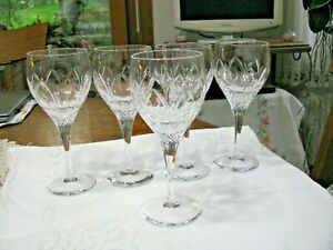 "5 Atlantis Chartres Pattern Cut Glass Wine Glasses - 7"" x 2 3/4"" -  Gorgeous"