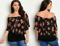 WOMENS FLORAL OFF THE SHOULDER PARTY TUNIC TOP INC NECKLACE PLUS SIZE 16-22