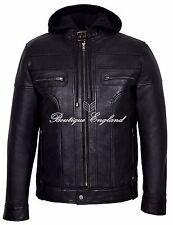CLARK Mens Black Hooded Casual Stylish Designer Bikers Real Soft Leather Jacket