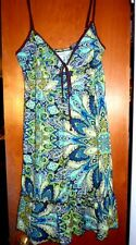 Junior's Designer Dress Macys Small S Boho Floral Paisley White Brown Teal Summe
