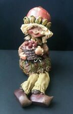 Rustic Apple Hat Resin Shelf Sitter Doll Harvest Fabric Legs Corn Husk Hair