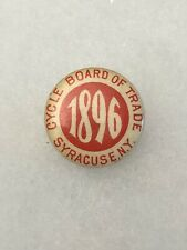 Antique 1890s 1900s Bicycle Stud Button Pin CYCLE BOARD OF TRADE 1896 Syracuse
