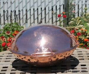 """Hammered Copper 12"""" Cataplana by Tapiol, nickel lined, Made in Portugal"""