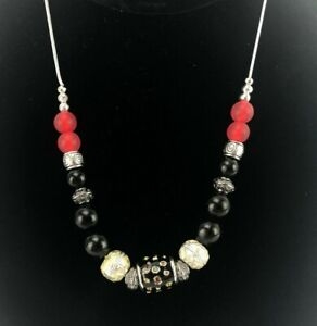 """Black Red Sea Glass Bead Necklace Sliver Tone 24"""" Chain Handmade"""