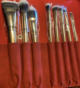 LUXIE 8 PIECE GLITTER AND GOLD BRUSH SET WITH RED BRUSH CASE BRAND NEW
