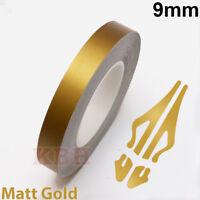 "9mm Self Adhesive Coachline Pin Stripe Vinyl Tape Craft Sticker 3/8"" MATT GOLD"